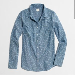 J CREW The Perfect Shirt Chambray Floral Top